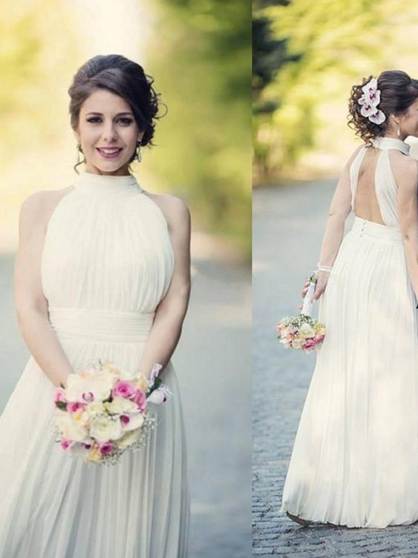 A-Line/Princess Ruffles Halter Sleeveless Floor-Length Tulle Wedding Dresses