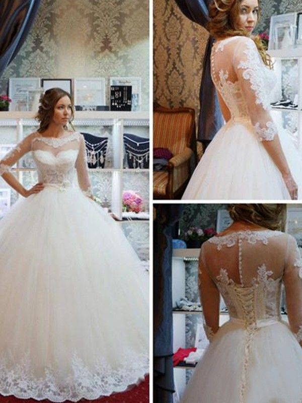 Ball Gown Applique Scoop 1/2 Sleeves Floor-Length Tulle Wedding Dresses