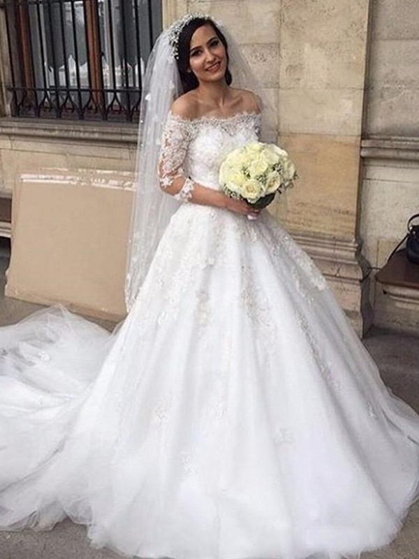Ball Gown Applique Off-the-Shoulder 3/4 Sleeves Chapel Train Tulle Wedding Dresses