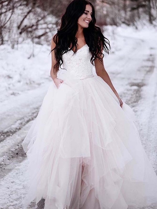 A-Line/Princess Ruched V-neck Sleeveless Floor-Length Tulle Wedding Dresses