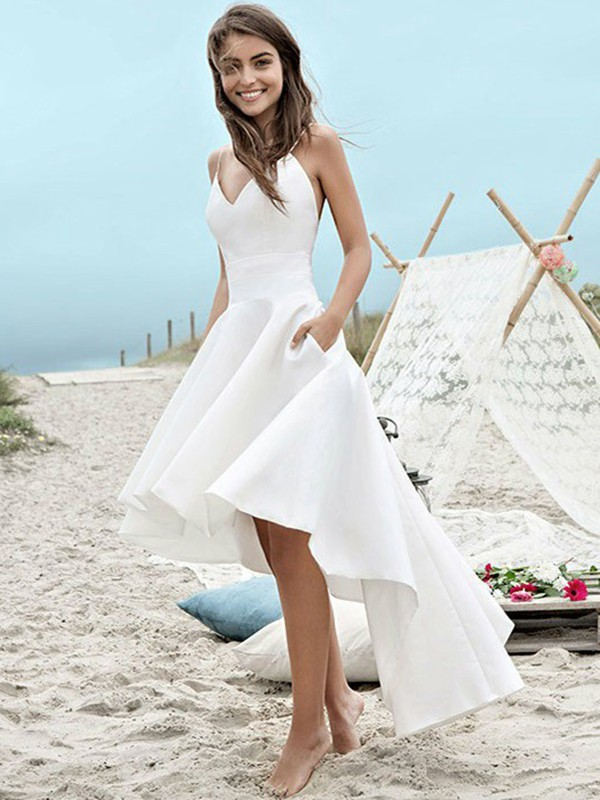 A-Line/Princess Ruched Spaghetti Straps Sleeveless Asymmetrical Satin Wedding Dresses