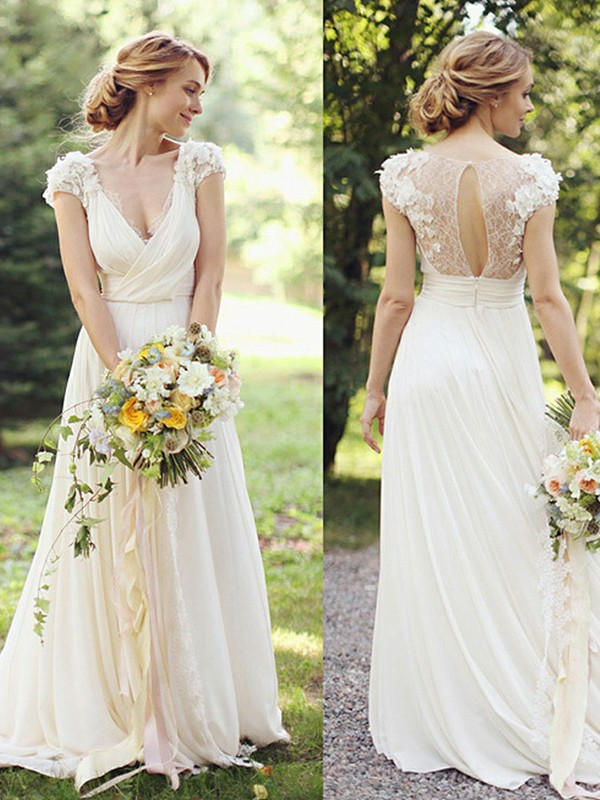 A-Line/Princess Ruched V-neck Short Sleeves Sweep/Brush Train Chiffon Wedding Dresses