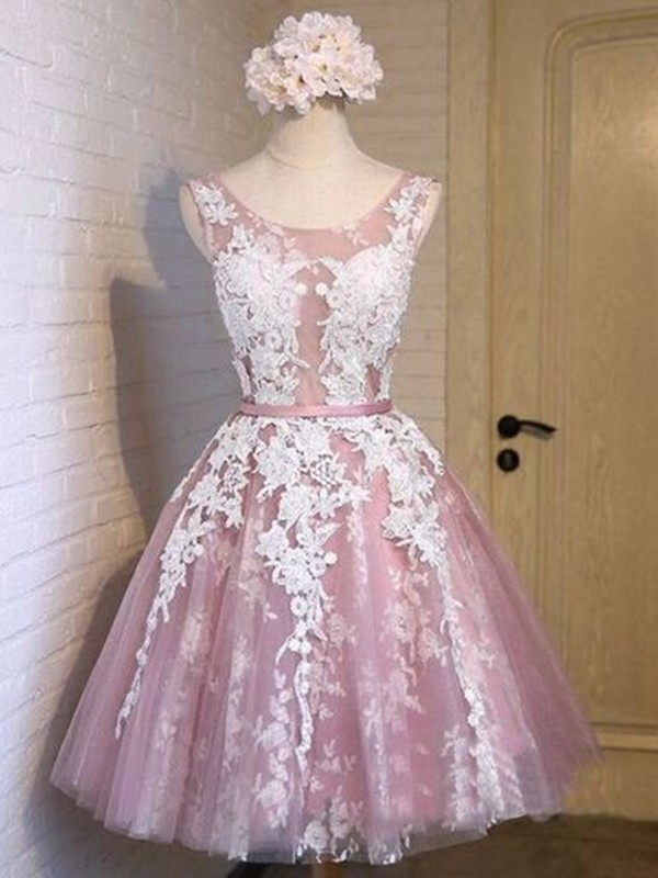 A-Line/Princess Applique Scoop Sleeveless Short/Mini Tulle Dresses