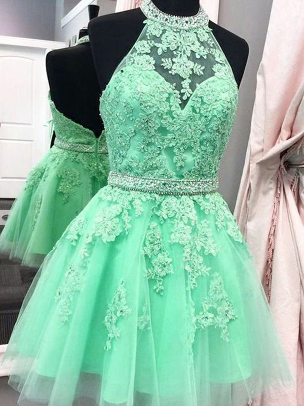 A-Line/Princess Applique Halter Sleeveless Short/Mini Tulle Dresses