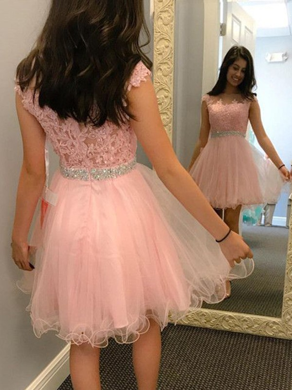 A-Line/Princess Applique Bateau Sleeveless Short/Mini Tulle Dresses