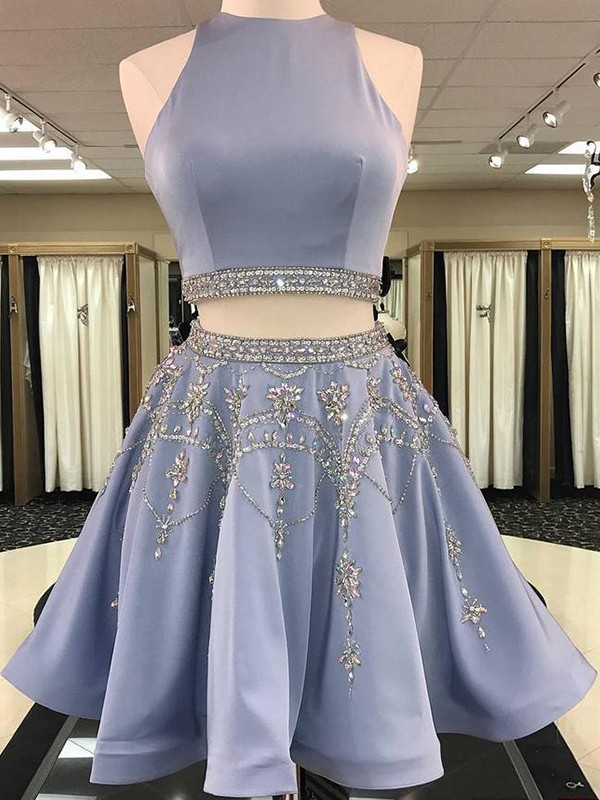 A-Line/Princess Beading Bateau Sleeveless Short/Mini Satin Two Piece Dresses