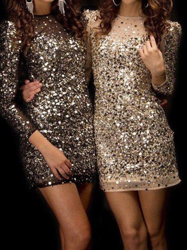 Sheath/Column Beading Bateau Long Sleeves Short/Mini Sequins Dresses