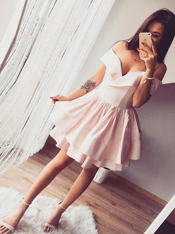 A-Line/Princess Ruffles Off-the-Shoulder Sleeveless Short/Mini Satin Dresses