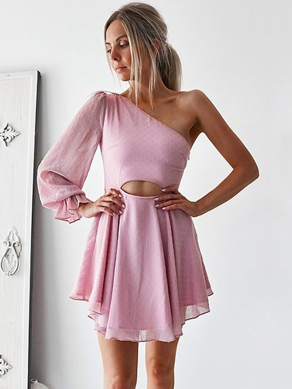 A-Line/Princess Ruffles One-Shoulder Long Sleeves Short/Mini Chiffon Dresses