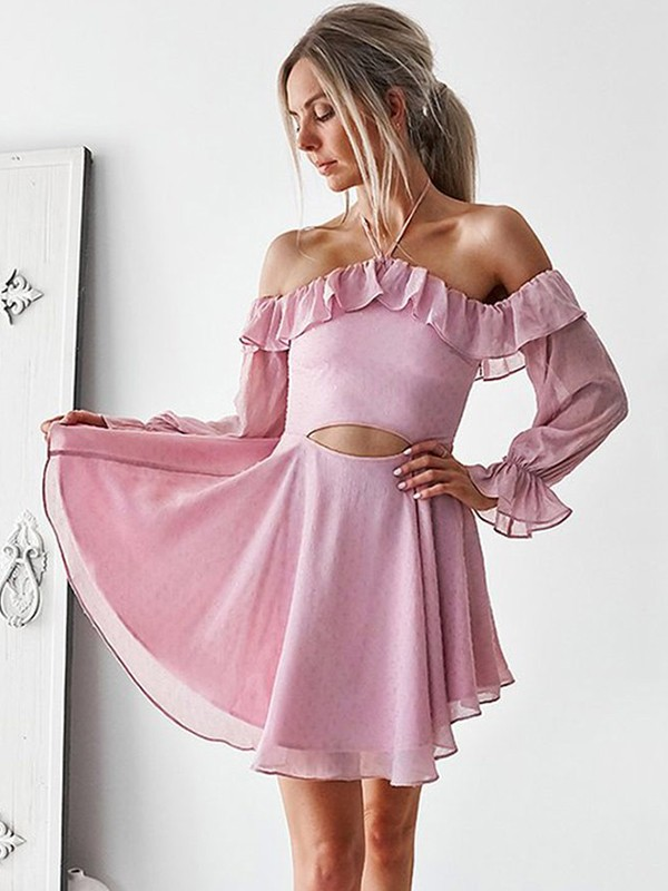 A-Line/Princess Ruffles Off-the-Shoulder Long Sleeves Short/Mini Chiffon Dresses