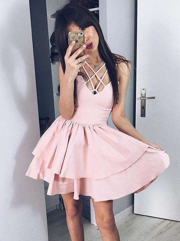 A-Line/Princess Ruffles Spaghetti Straps Sleeveless Short/Mini Satin Dresses