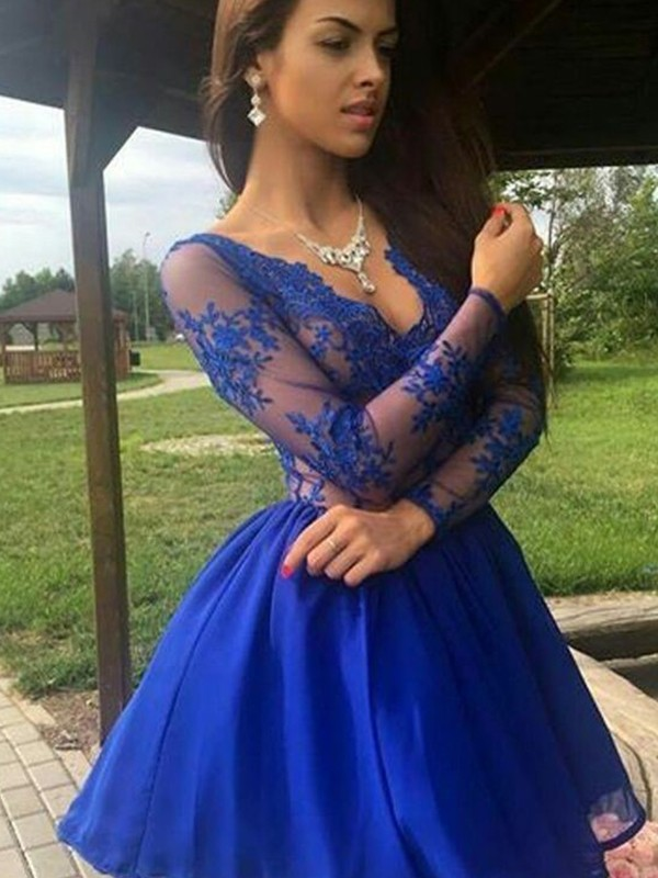A-Line/Princess Applique V-neck Long Sleeves Short/Mini Organza Dresses