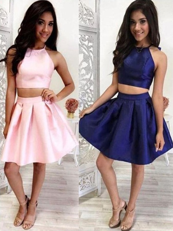 A-Line/Princess Ruffles Halter Sleeveless Short/Mini Satin Two Piece Dresses