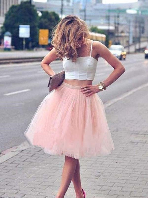 A-Line/Princess Pleats Spaghetti Straps Sleeveless Knee-Length Tulle Two Piece Dresses