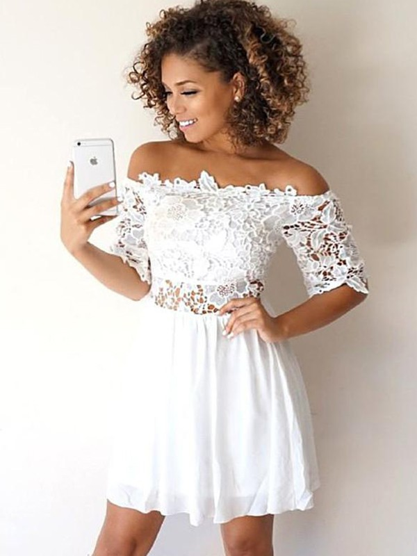 A-Line/Princess Applique Off-the-Shoulder 1/2 Sleeves Short/Mini Chiffon Dresses