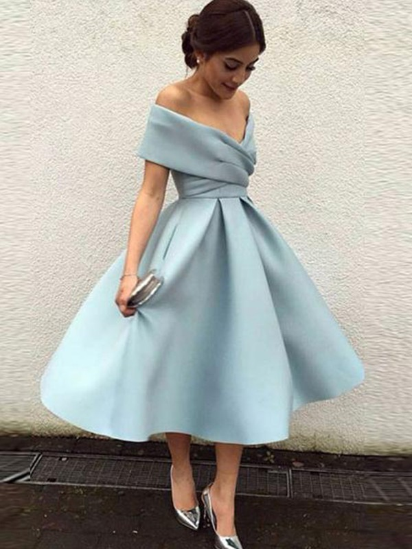 A-Line/Princess Ruffles Off-the-Shoulder Sleeveless Tea-Length Satin Dresses