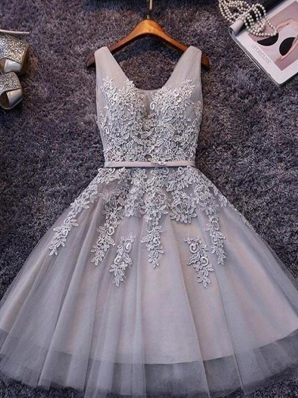 A-Line/Princess Applique Straps Sleeveless Short/Mini Tulle Dresses