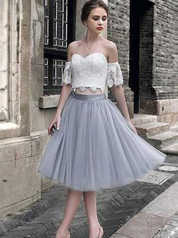 A-Line/Princess Lace Sweetheart Sleeveless Tea-Length Tulle Two Piece Dresses