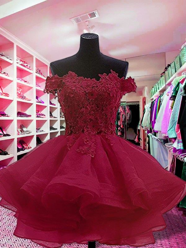 Ball Gown Applique Off-the-Shoulder Sleeveless Short/Mini Organza Dresses