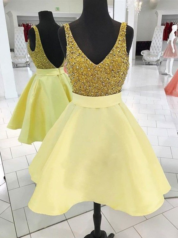 A-Line/Princess Beading V-neck Sleeveless Short/Mini Satin Dresses