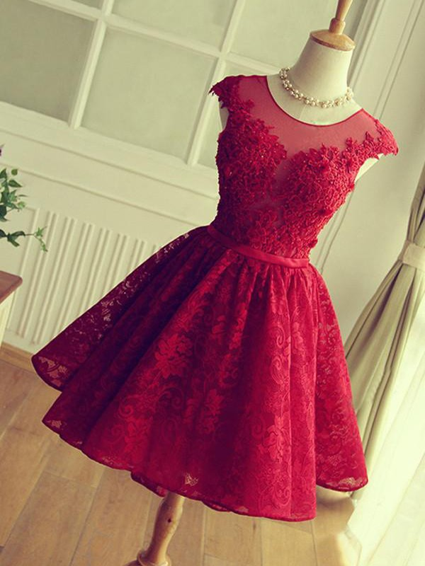 A-Line/Princess Applique Jewel Sleeveless Short/Mini Lace Dresses