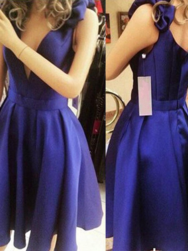 A-Line/Princess Bowknot Straps Sleeveless Short/Mini Satin Dresses