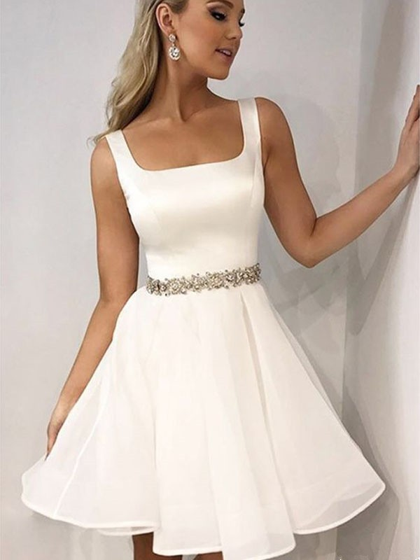 A-Line/Princess Beading Straps Sleeveless Short/Mini Chiffon Dresses