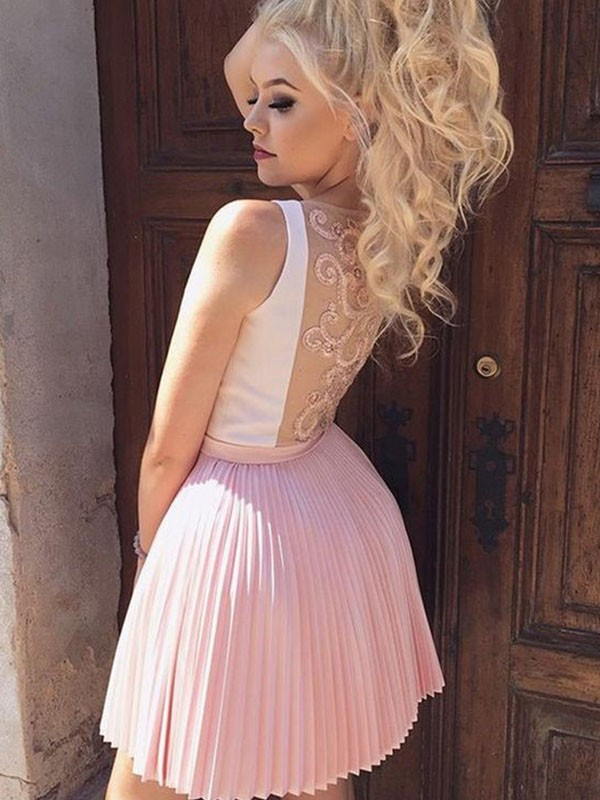 A-Line/Princess Pleats V-neck Sleeveless Short/Mini Satin Dresses
