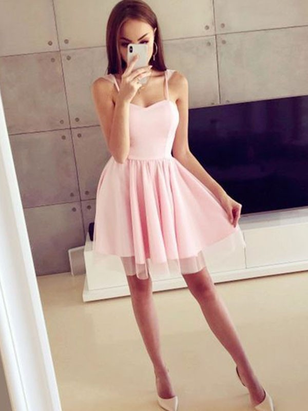 A-Line/Princess Ruched Spaghetti Straps Sleeveless Short/Mini Satin Dresses