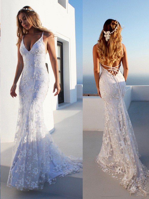 4b2e160de82 Trumpet Mermaid Lace Spaghetti Straps Sleeveless Court Train Tulle Wedding  Dresses