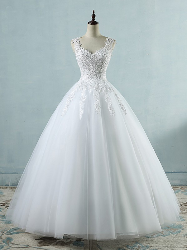 Ball Gown Applique Sweetheart Sleeveless Floor-Length Tulle Wedding Dresses