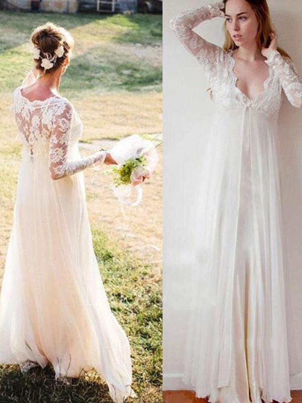 Empire V-neck Long Sleeves Floor-Length Chiffon Wedding Dresses