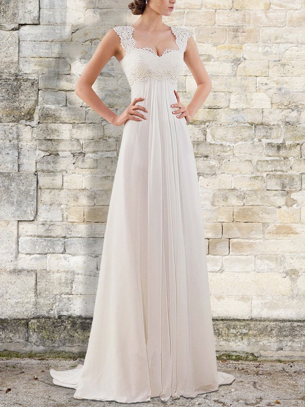 Empire Lace Bateau Sleeveless Sweep/Brush Train Chiffon Wedding Dresses