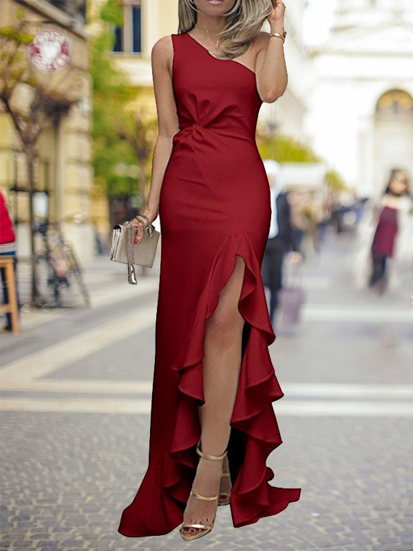 Sheath/Column Ruffles One-Shoulder Sleeveless Sweep/Brush Train Silk like Satin Dresses