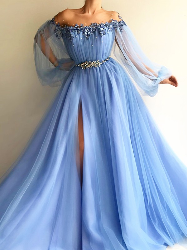 A-Line/Princess Beading Off-the-Shoulder Long Sleeves Floor-Length Tulle Dresses
