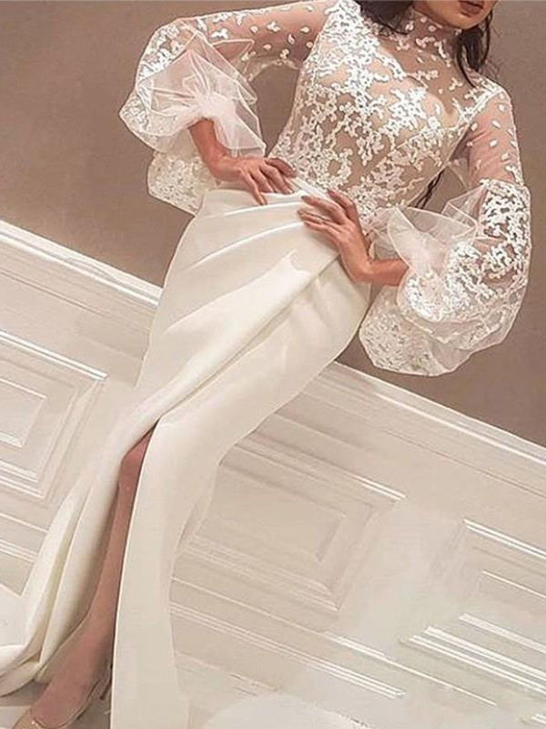 Trumpet/Mermaid Lace High Neck Long Sleeves Sweep/Brush Train Stretch Crepe Dresses