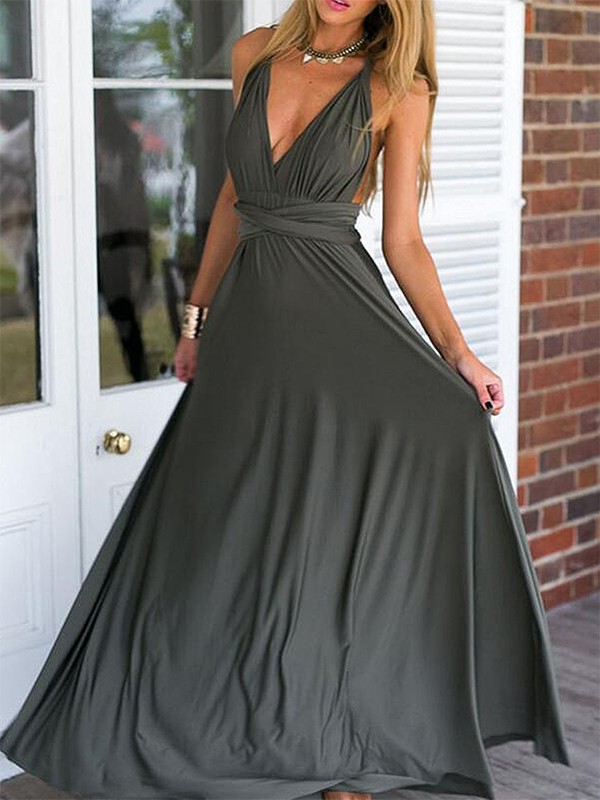 Empire Ruched V-neck Sleeveless Floor-Length Chiffon Dresses