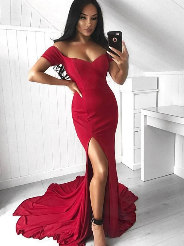 Trumpet/Mermaid Sleeveless Off-the-Shoulder Court Train Ruffles Spandex Dresses