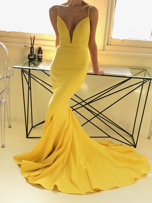 Trumpet/Mermaid Sleeveless Spaghetti Straps Sweep/Brush Train Ruffles Satin Dresses