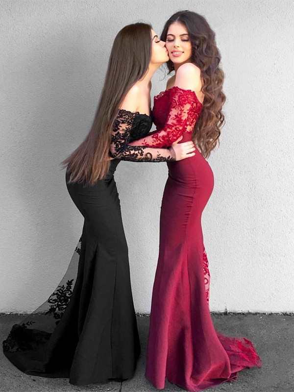 Trumpet/Mermaid Long Sleeves Off-the-Shoulder Sweep/Brush Train Applique Stretch Crepe Dresses