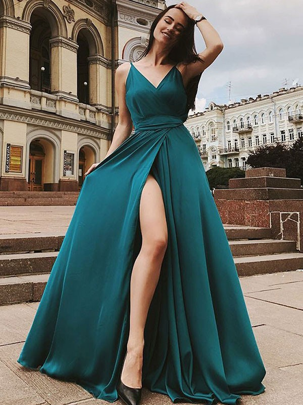 A-Line/Princess Sleeveless Straps Sweep/Brush Train Ruffles Satin Chiffon Dresses