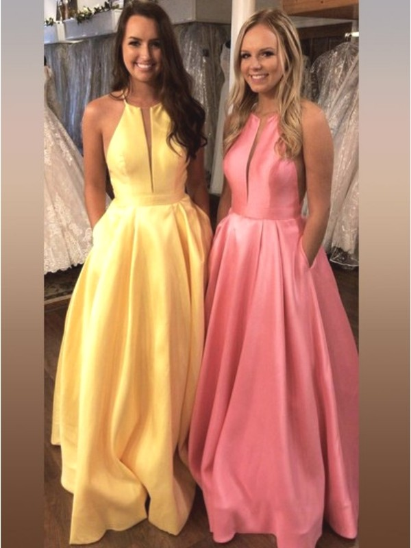 A-Line/Princess Sleeveless Halter Sweep/Brush Train Ruffles Satin Dresses
