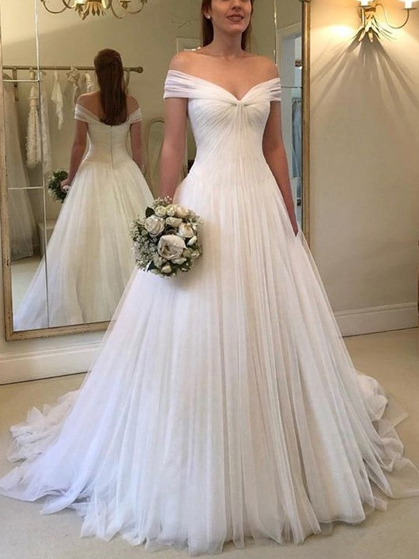 A-Line/Princess Off-the-Shoulder Sleeveless Sweep/Brush Train Ruched Tulle Wedding Dresses