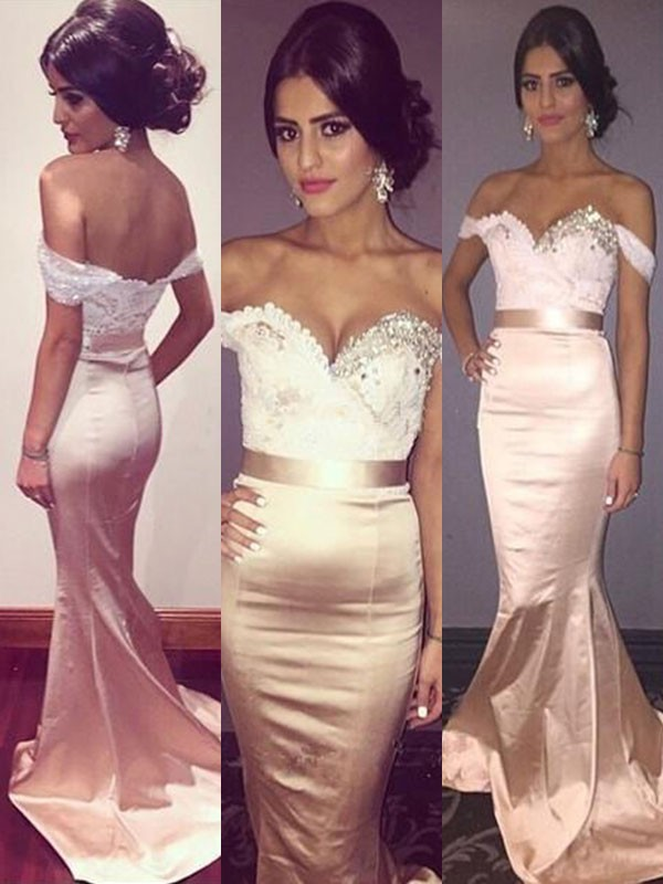 Trumpet/Mermaid Beading Off-the-Shoulder Sleeveless Sweep/Brush Train  Dresses