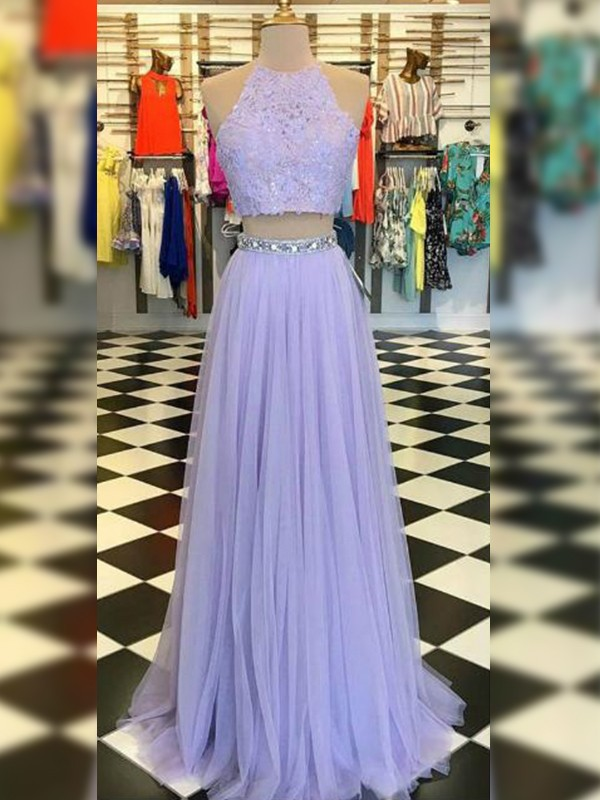 A-Line/Princess Lace Halter Sleeveless Floor-Length Tulle Two Piece Dresses