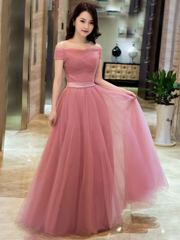 A-Line/Princess Ruffles Off-the-Shoulder Sleeveless Floor-Length Tulle Dresses