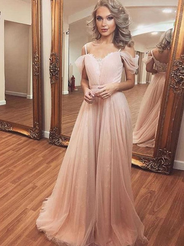 A-Line/Princess Ruched Off-the-Shoulder Sleeveless Sweep/Brush Train Tulle Dresses
