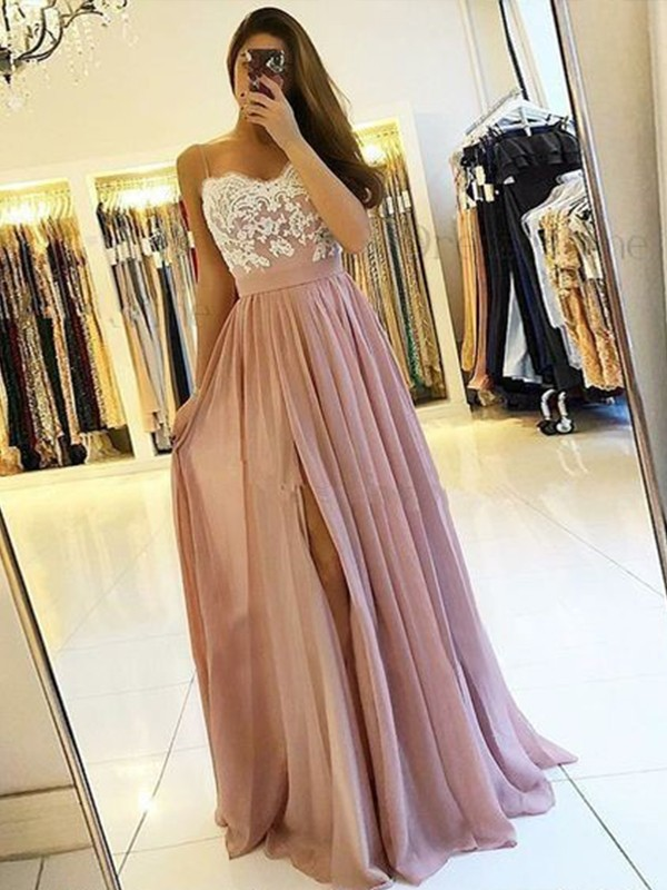 A-Line/Princess Applique Spaghetti Straps Sleeveless Floor-Length Chiffon Dresses