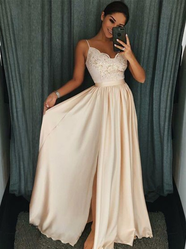 A-Line/Princess Applique Spaghetti Straps Sleeveless Floor-Length Silk like Satin Dresses