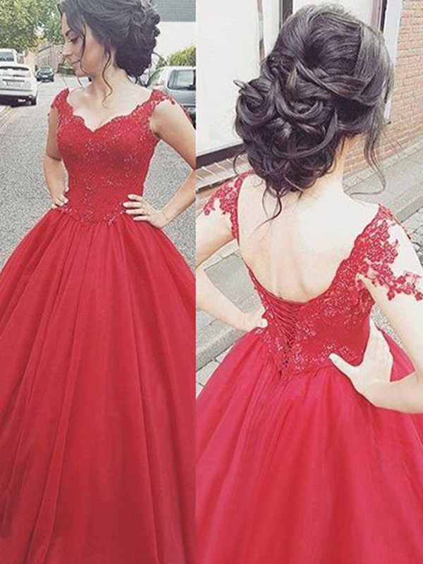 Ball Gown Applique V-neck Sleeveless Floor-Length Satin Dresses